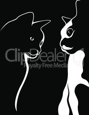 Outline of two beautiful cats