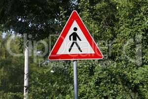 Road signs. Crosswalk. Sign : Caution pedestrian