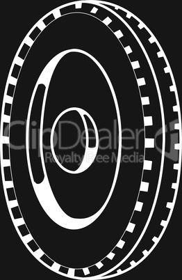 Wheel silhouette on a black background