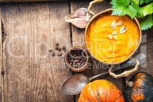 Pumpkin soup on the table