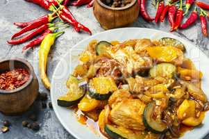Stewed meat with eggplant