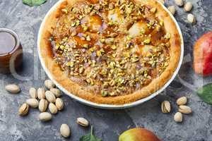 Autumn pie with pear