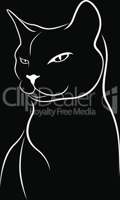Abstract black stencil of angry cat