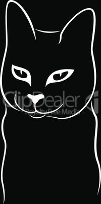 Black stencil of cunning cat