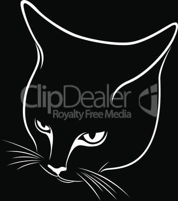 Abstract cat's muzzle black stencil