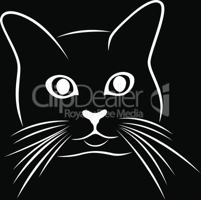 Black stencil of cute cat's muzzle