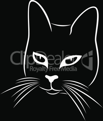 Black stencil of abstract cunning cat