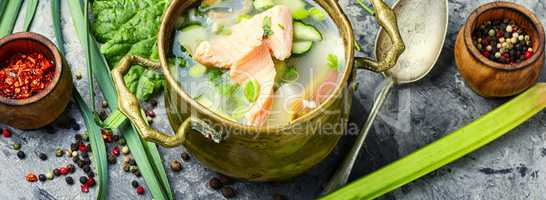 Soup with rhubarb and fish