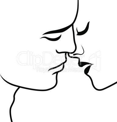 Romantic moment before kiss