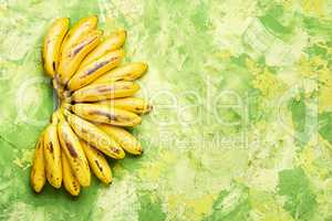 Ripe unpeeled bananas.