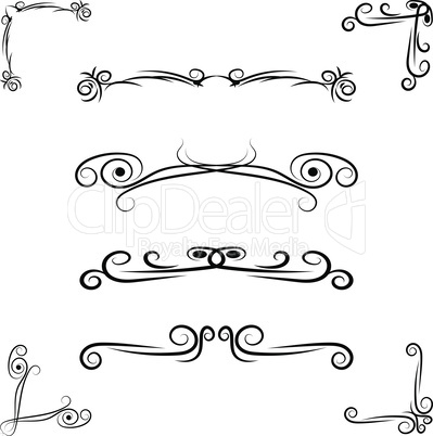 Hand drawn flourishes swirls, page dividers, border decor design elements