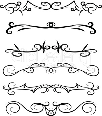 Calligraphic hand drawn Design Elements. Swirls, lines And Borders. Vector Illustration