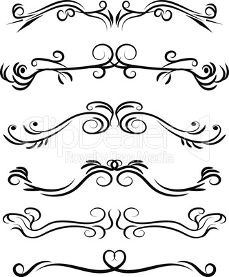 Hand drawn decorative swirls dividers and borders vector set.
