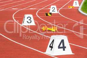 tracks and numbers for 400 m run