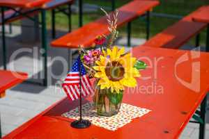 flower decoration with flags