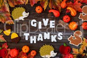 Colorful Autumn Decoration, Text Give Thanks, Wooden Background
