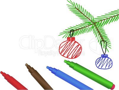 Felt-tip pens and spruce branch with balls