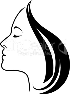 Beauty logo. Beautiful woman silhouette. Line art drawn female face skin care logo template