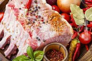 Pork ribs rack