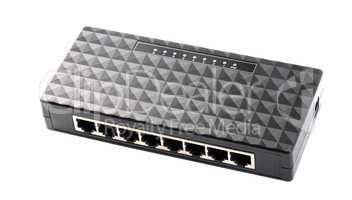 black 8 Port Plastic Ethernet Switch isolated on white backgroun