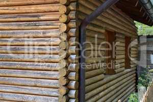 Log cabin home - Wall of house from logs
