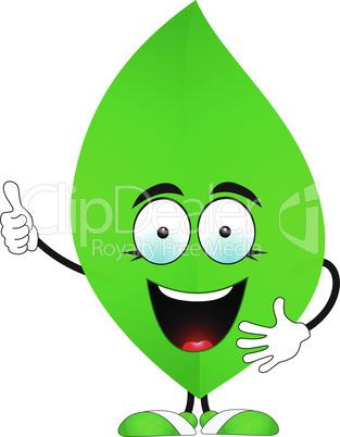 Smiling green leaf says Super