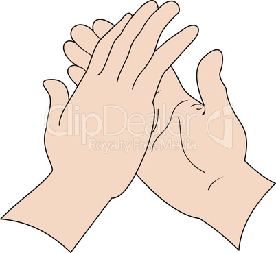 Two hands in greeting