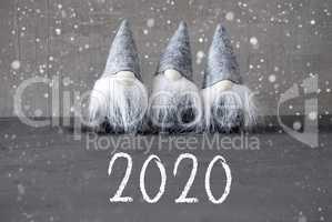 Three Gray Gnomes, Urban Cement, Snowflakes, Text 2020