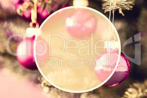 Blurry Rose Balls, Copy Space, Christmas Tree