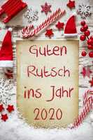 Bright Christmas Flat Lay, Guten Rutsch 2020 Means Happy New Year