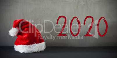 Red Santa Hat, Text 2020, Grey Crunchy Background