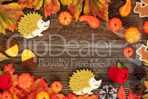 Bright Colorful Autumn Decoration, Copy Space, Wooden Background