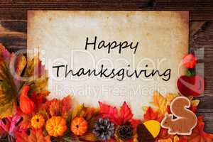 Old White Paper With Happy Thanksgiving, Colorful Autumn Decoration