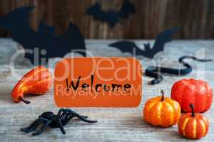 Orange Label, Text Welcome, Scary Halloween Decoration