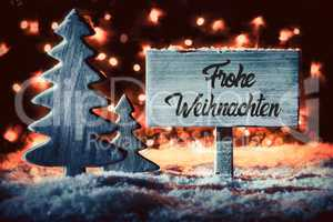 Tree, Sign, Snow, Calligraphy Frohe Weihnachten Means Merry Christmas