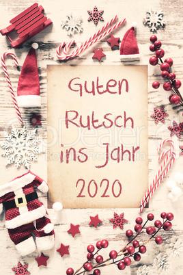 Nostalgic Christmas Flat Lay, Guten Rutsch 2020 Means Happy New Year