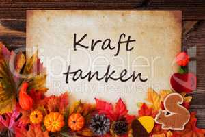 Old Paper With Autumn Decoration, Kraft Tanken Means Relax