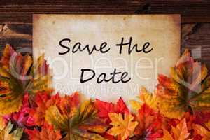 Old Paper With Text Save The Date, Colorful Leaves Decoration