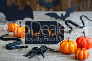Black Label, Text Thank You, Scary Halloween Decoration