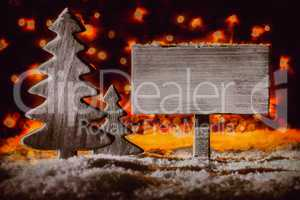 Christmas Decoration, Sign, Christmas Tree, Snow, Copy Space
