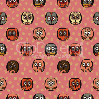Seamless pattern with funny owls in oval shapes