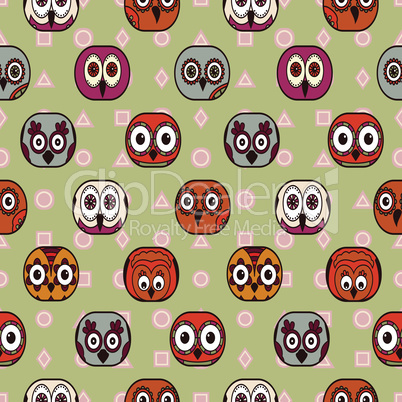 Seamless with cartoon owls in oval shapes for children decoration