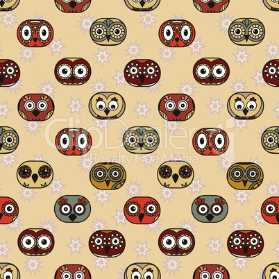 Seamless with funny owls in oval shapes for children decoration