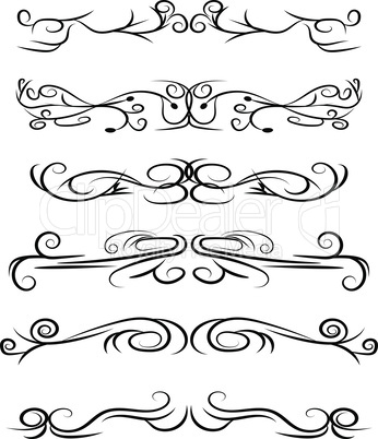Hand drawn vector dividers. Decorative swirls lines, borders and curl set. Design elements 3