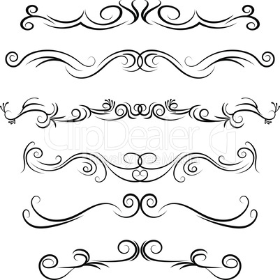 Hand drawn vector dividers. Decorative swirls lines, flourished borders and curl set. Design elements 6