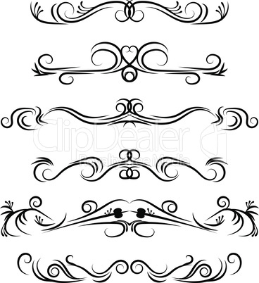 Hand drawn vector dividers. Decorative swirls lines, flourished borders and curl set. Design elements 7