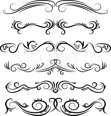 Hand drawn vector dividers. Decorative swirls lines, borders and curl set. Design elements 8