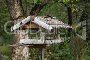 Handmade wooden bird feeder made of birch