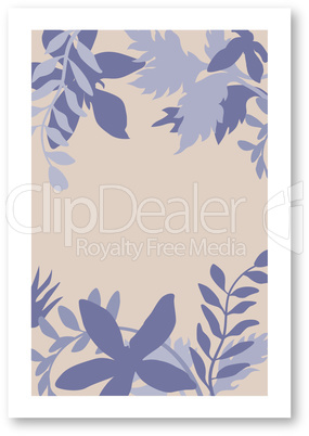 Abstract floral botanical organic shapes in natural colors: biege, brown, dark blue and grey. Template of trendy contemporary style collage for flyer, card, brochure and social media post.