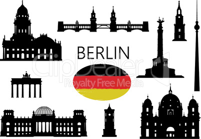 Berlin. Famous tourist places of capital of Germany. Travel Germany set. German building icon silhouette collection.